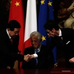 QINGLIN, MARIO MONTI E IL DIRETTORE GENERALE DI FASTWEB ALBERTO CALCAGNO